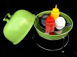 Image is loading Bbq-Grill-Table-Top-Condiment-6-Pc-Grill- & Bbq Grill Table Top Condiment 6 Pc Grill Caddy Set Salt Pepper ...
