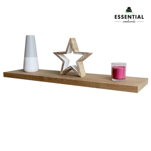 SOLID OAK Modern Floating Shelves Wooden Handmade Shelf Mantle 22.5 x 2.5cm