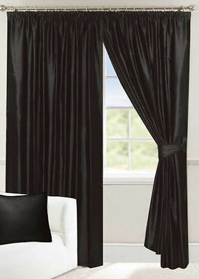FULLY LINED BLACK FAUX SILK PENCIL PLEAT TAPE TOP CURTAINS ALL SIZES AVAILABLE