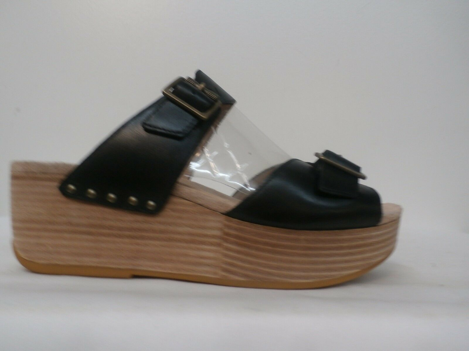 Dansko Leather Wedge Slide Sandals - Selma BLACK Size 41=10.5-11