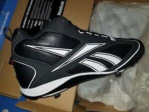 e0231a104547 NIB Reebok Vero FL III Mid M Metal Men s BASEBALL Cleats BLACK WHITE ...