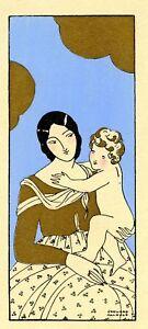 1930s-French-Pochoir-Print-Edouard-Halouze-Flapper-Mother-Holding-Baby-Boy-S