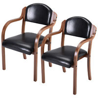 Set Of 2 Bent Wood Dining Arm Chair Modern Elegant Home Living Room Furniture