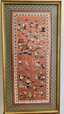 Vintage Chinese silk embroidered dragon boat racing hundred children play panel tapestry embroidery vintage Asian Oriental 25x13