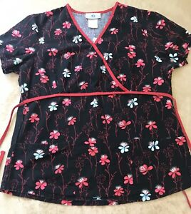 SB-Scrubs-Sz-Small-Lightweight-Scrub-Top-Floral-Pockets-Great-Cond