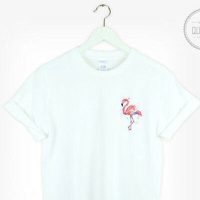Flamingo Pocket T Shirt top Summer Retro funny Tumblr