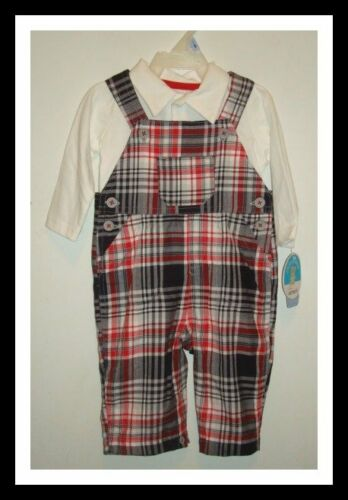 PLAID POLO TOP /& OVERALLS BOY 3-6 OR 6-9 MONTHS NWT CARTER/'S CHILD OF MINE 2 PC