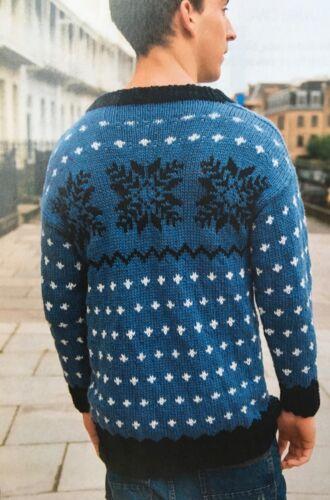Tejer patrón para Hombre Fair Isle Christmas Jumper Copo de Nieve Suéter grueso