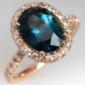 14 K Rose Gold Natural London Topaz Engagement Ring Oval Cut Victorian Jewelry