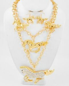 WESTERN-HORSE-GOLD-TONE-CLEAR-RHINESTONE-STATEMENT-NECKLACE-EARRING-SET-8