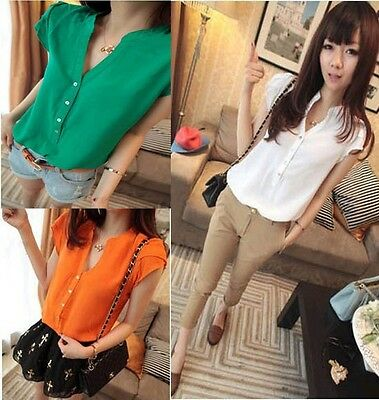 Fashion 4 Colors Womens Short Sleeve Button Down T-Shirt Tops Blouses Shirts FF