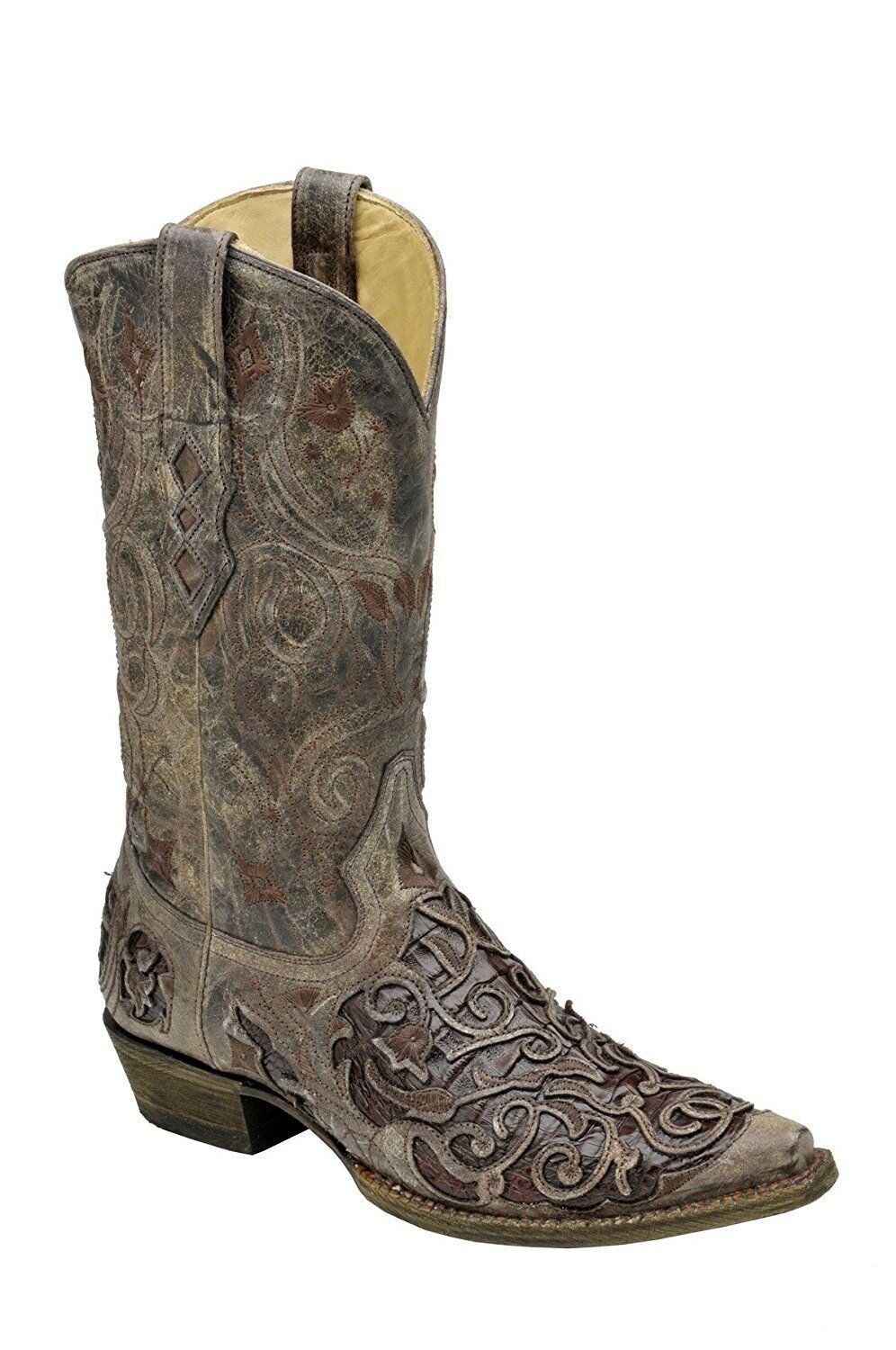 CORRAL Men's Tabac Chocolate Caiman Inlay Snip Toe Cowboy stivali A1236