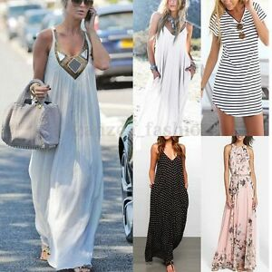 919a731f3fb AU 8-26 Women Fashion Summer Casual Evening Party Beach Sundress ...