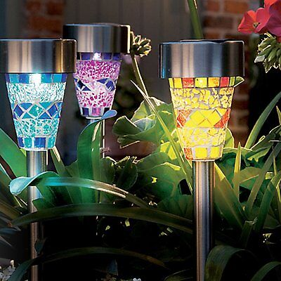 12PK SOLAR POWER STAINLESS STEEL MOSAIC OUTDOOR WHITE LED GARDEN LIGHT POST LAMP