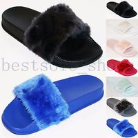 Womens Slip On Flat Farrah Rubber Slider Mules Fur Slipper Rihanna Sandals Size