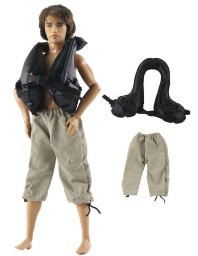 2 Pcs Set Inflatable life jacket vest Dll Clothes//Outfit For 12 inch Ken Doll