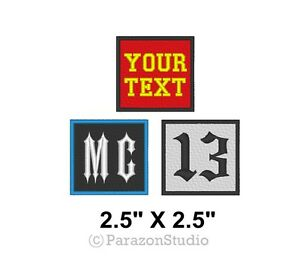 "Custom Embroidered Rocker Patch Biker Patch Club 13 Outlaw MC Badge 3/"" X 3/"" B"