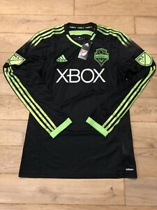 new arrival d3ceb 40026 Details about ADIDAS SEATTLE SOUNDERS FC JERSEY - 2015 Soccer Pitch Black  Authentic