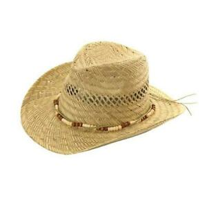 New-Hawkins-Natural-Straw-Cowboy-Fedora-Hat-unisex-bush-wide-brim-mens-womens