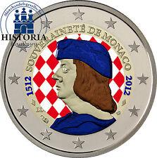 Monaco 2 euros conmemorativa 2012 BFR. Lucien I. 500 años de independencia en color