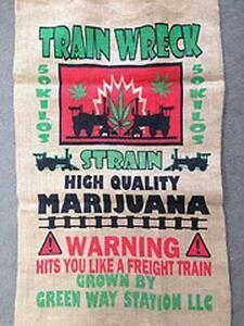 TRAIN WRECK BURLAP STORAGE BAG 019 marijuana strain pot leaf bags printed sacks