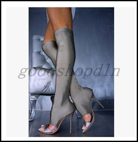 acquisto limitato Sexy donna Lycra Stretchy Open Open Open Toe scarpe Stiletto Cut Out Ankle Knee High stivali  grande vendita