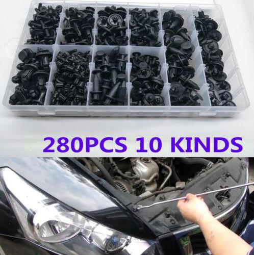 280Pcs 10 Kinds Mixed Car Plastic Fender Bumper Door Nylon Rivet Fastener Clips