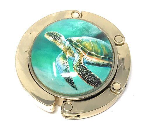Value Arts Nautical Sea Turtle Folding Purse Hanger Polished Brass and Glass