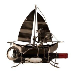 Wein-Flaschenhalter-Segelboot-Schiff-Beruf-Metall-Geschenk-Geburtstag