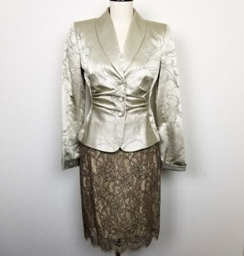 Kay Unger Silk Wool Blend Blazer Lace Skirt Set Si