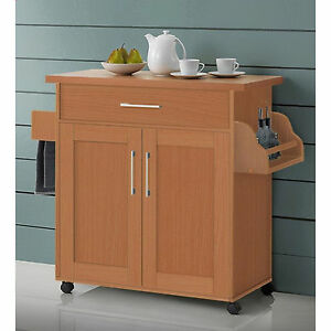 kitchen island cart on wheels with wood top rolling storage cabinet beech table ebay. Black Bedroom Furniture Sets. Home Design Ideas