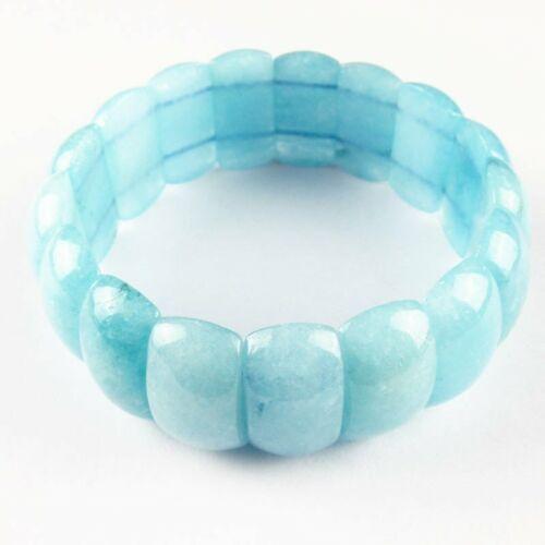 """72.9g Natural Aquamarin Oblong Stretchy Bracelet 7.5/"""" Width:25mm"""