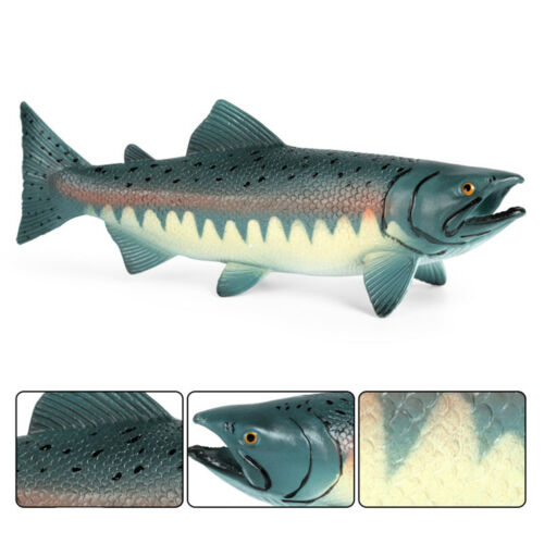 Big Pacific Salmon Figure Ocean Animal Fish Model Collector Decor Kids Toy Gifts