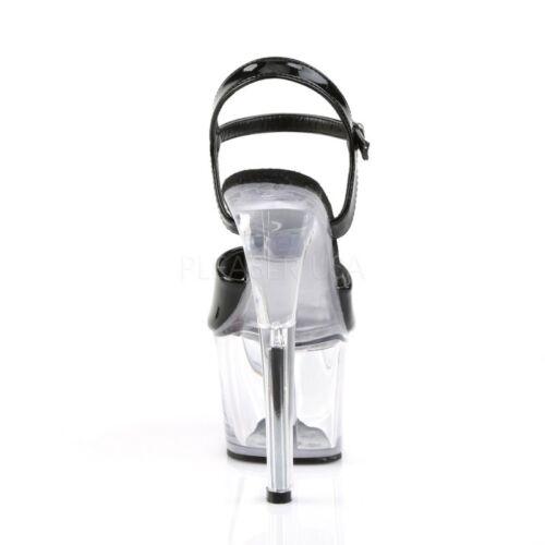 Dance Table 309 Patent Nero Platform Extreme Pole Dance Clear Pleaser Sandal Sky gZf6q6