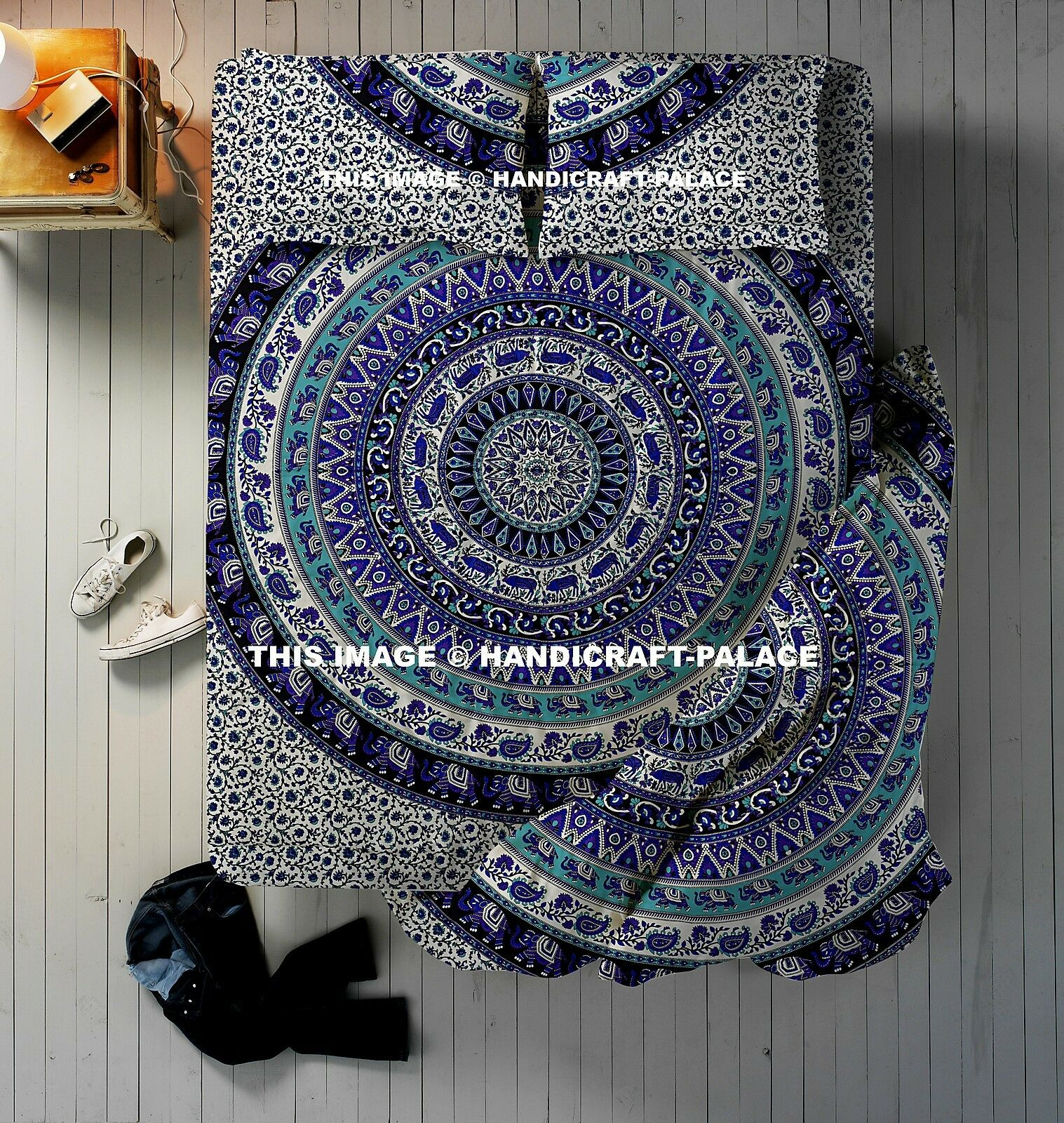 4 PCs Elephant Mandala Bettding Set Indian Duvet Will Startseite Königin With Bettspread