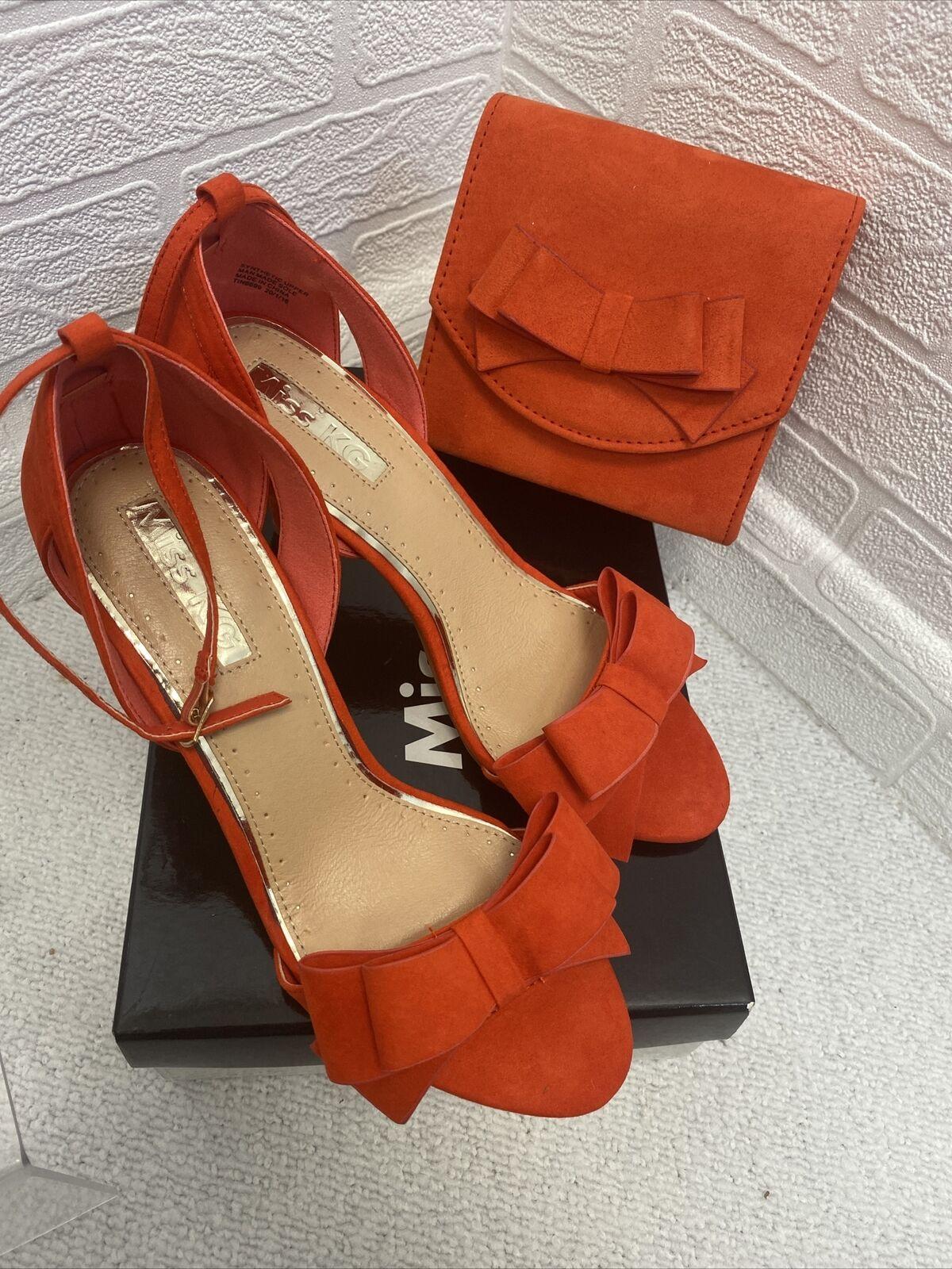 Miss KG red suedette bow strap show uk6 matching handbag set ladies accessories
