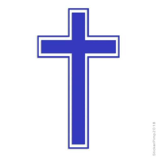 Outlined Cross Decal Sticker Choose Color Large Size #lg493