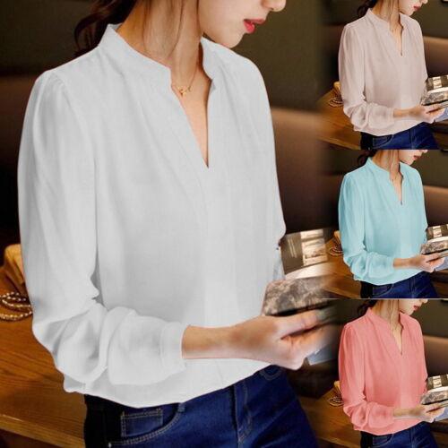 Damen Langarm V-ausschnitt Bluse chiffon shirt Oberteile Tops Business Freizeit