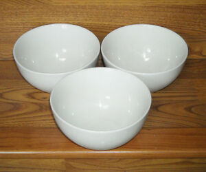 Image is loading LOT-of-3-WHITE-CEREAL-BOWLS-Aurora-ESSENCE- & LOT of 3 WHITE CEREAL BOWLS - Aurora ESSENCE by Stoneage 6\