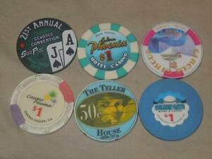 Vintage Lot 6 Roulette Casino Chips Golden Gate, Circus, The Teller House,Pauma+