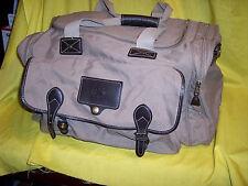 EDDIE BAUER FORD Duffle Bag Khaki Biege Brown Leather Trim Travel Gym USA