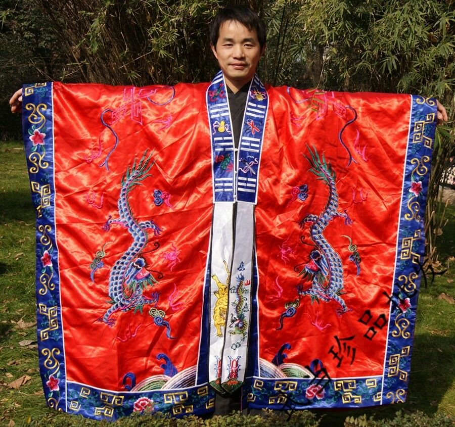 New Handmade Silks satin Taoist Robe Dragon Robe Religious ceremonies Suit