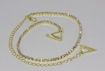 Attento Coppia D'oro Diamante Di Cristallo Regolabile Staccabile Spalline Reggiseno-mostra Il Titolo Originale Modellazione Duratura