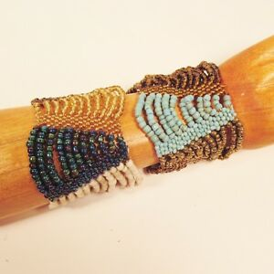 Set-of-2-Turquoise-Gold-Multi-Strand-Handmade-Swag-Stretch-Seed-Bead-Bracelets