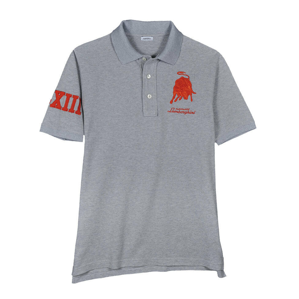 Lamborghini Men's LXIII Bull Polo, Grey