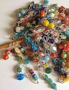 Knitterbabe-Millefiore-Bead-Stitch-Markers-x-4-per-set-Up-to-5-5mm-needles