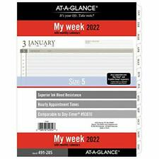 2022 Weekly Planner Refill By At A Glance 93010 Day Timer 8 12 X 11 Size 5
