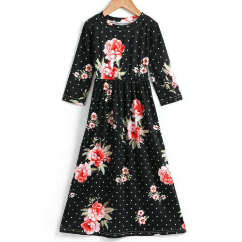 UK Kids Girls Floral Dots Maxi Dress Casual Party Holiday Long Sundress Age 5-12