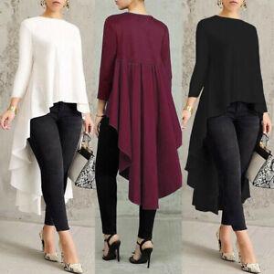 Women-Long-Sleeve-Asymmetrical-Waterfall-Shirts-Tops-High-Low-Blouse-Plus-Size