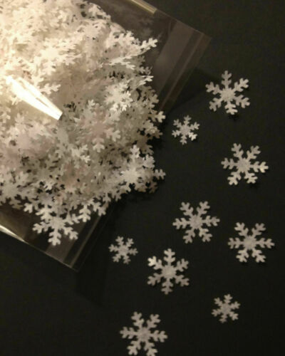 J Blanc de Flocon de neige table Dispersion Confettis noël blanc hiver Carte Cadeau Party
